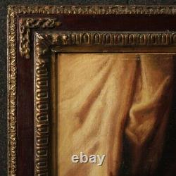 Peinture religieux ancien tableau huile sur toile Vierge avec enfant cadre 600
