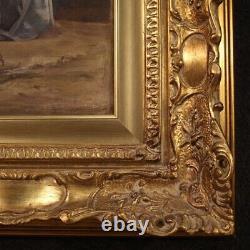 Peinture scène populaire tableau sur toile style ancien cadre technique mixte