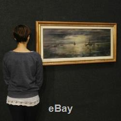 Peinture sur toile tableau cadre italien paysage signé marine style ancien