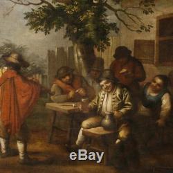 Peinture tableau ancien flamand huile sur toile scène populaires personnages