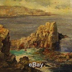 Peinture tableau cadre huile sur toile paysage marine italien style ancien 900