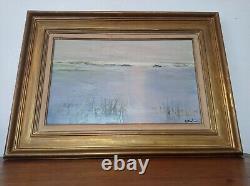Peinture tableau huile sur toile bord de mer ancien encadré signé marine