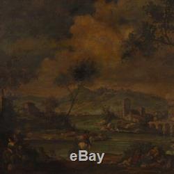 Peinture tableau huile sur toile paysage personnages style ancien cadre 900