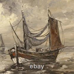 Peinture tableau marine paysage huile toile bateaux signé style ancien cadre
