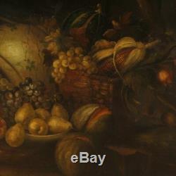 Peinture tableau nature morte signé italien huile sur toile style ancien cadre