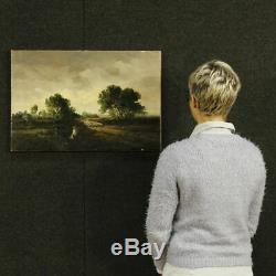Peinture tableau paysage signé huile toile néerlandais ancien impressionniste