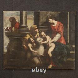 Peinture tableau religieux ancien huile sur toile art sacré Vierge Jesus 700
