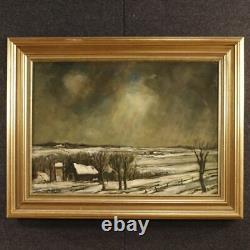 Peinture tableau signé huile sur toile paysage hiver néerlandais style ancien