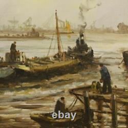 Peinture tableau signé sur toile paysage marine style ancien impressionniste
