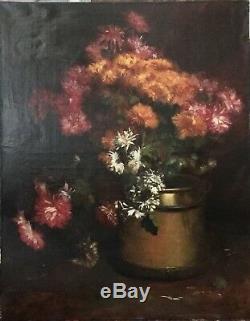 Peintures anciennes natures mortes aux fleurs, tableau ancien