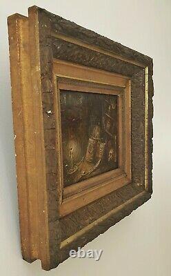 Petit Tableau ancien peinture a l'huile sur bois pour cabinet De Curiosités. Ou