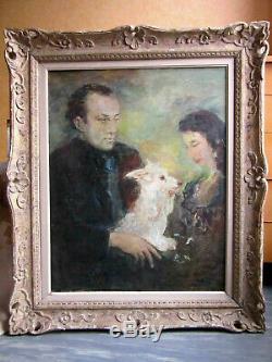 Portrait ancien couple Ecole de Paris Huile Peinture Tableau Cadre Montparnasse