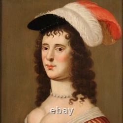 Portrait de dame femme peinture huile panneau tableau ancien 18ème siècle 700