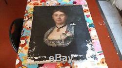 Portrait de femme XIXe siècle Tableau peinture ancienne