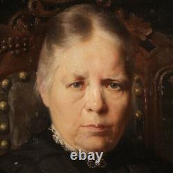 Portrait de femme tableau huile sur toile peinture cadre style ancien signé