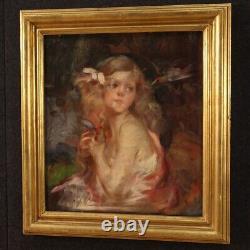 Portrait fille 19ème siècle tableau huile sur toile peinture anglaise ancienne