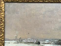 RARE SUPERBE ancien TABLEAU PEINTURE HST signé GUSTAVE MAINCENT 1848-1897