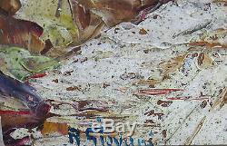 ROBERT GIOVANI, village, montagne, méditerranée, cadre montparnasse, TABLEAU ANCIEN