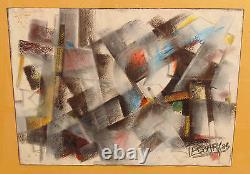 Rare ancien tableau peinture pastel art abstrait signé escary daté 83 cubismes