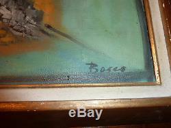 Ref 794 HST Tableau ancien Signé BOSCO Les chevaux