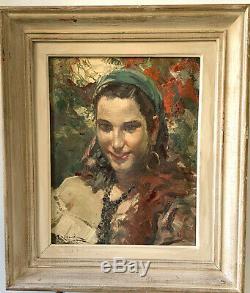 Richard Durando Togo (1910) Ancien Tableau Peinture La Gitane Benezit