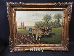 SCÈNE AGRICOLE 19èm tableau ancien peinture France vache buf charrue paysan