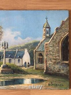 SUPERBE ancien TABLEAU PEINTURE HST Bretagne signé Emile GAUFFRIAUD (1877-1957)