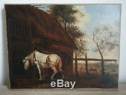 SUPERBE ancien TABLEAU PEINTURE HST écurie chevaux vaches XIXe ou XVIIIe