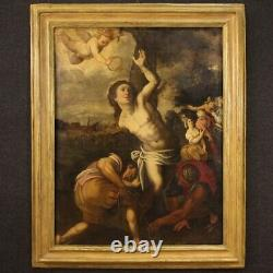 Saint Sébastien ancien tableau huile sur toile peinture religieuse 17ème siècle
