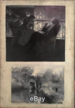 Serafino Macchiati (1861-1916) Tableau ancien italien illustration Moulins De Na