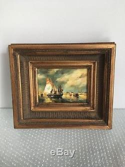 Sublime Ancien Tableau, Marine, Huile sur Toile avec Signature d'Artiste