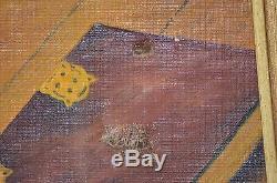Superbe Ancien Tableau Peinture Sur Toile Huile Signe