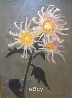 Superbe Tableau Ancien Style SANYU Huile Fleurs dans un Vase Essentialisme c1930
