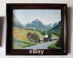 Superbe ancien tableau de montagne Sixt Fer à Cheval Samoens Taninges Chamonix