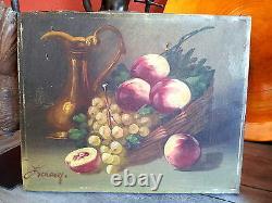 Superbe paire ancien tableau peinture nature morte fruit 1900 déco charme signé