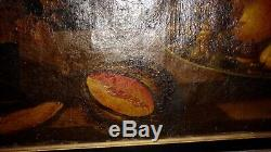 TABLEAU ANCIEN NATURE MORTE MAGNIFIQUE DE 120 CM X 80 CM peinture majestueuse