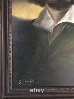 TABLEAU ANCIEN PEINTURE HUILE PORTRAIT DHOMME SIGNÉ G. Courhet 1844 a Restaure