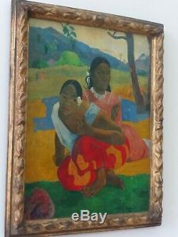 TABLEAU ANCIEN Quand te maries tu Signé Paul Gauguin