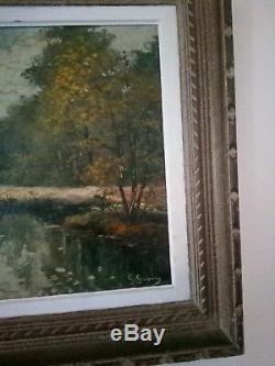 TABLEAU ancien GEORGES GUERIN PAYSAGE forêt ruisseau bois Boulogne peintre côté