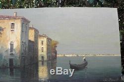 TABLEAU ancien, signé E. MAURETTI, Huile S/Toile, Venise, oil painting on canvas, tbe
