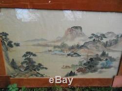 Tableau 120 CM Sur 71 CM Asie Chine Vietnam Peinture Encre De Couleurs Ancien