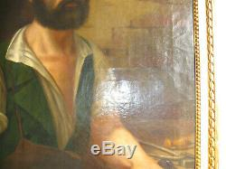 Tableau Ancien 1850 Environ-xix Siècle-cordonnier-sabotier-peinture A L'huile
