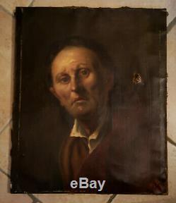 Tableau Ancien 19e PORTRAIT HOMME Signé MB Toile Peinture Huile 8F à restaurer
