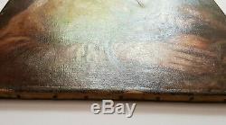 Tableau Ancien 46 x 62 Garçon panier Pommes Portrait Huile Toile Peinture HST FR