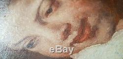 Tableau Ancien 46x62 Garcon panier Pomme Portrait Huile Toile Peinture HST Boy