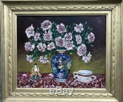 Tableau Ancien Bouquet, Bouddha et Tasse Signé et Daté 1936 Peinture Huile ST