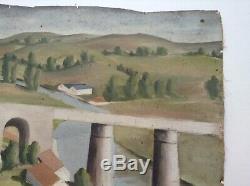 Tableau Ancien Cubiste André LHOTE Paysage au viaduc Huile A restaurer