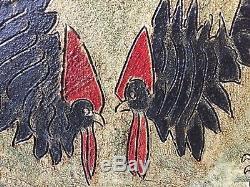 Tableau Ancien Cubiste Les Deux Coqs Circa 70 Cubisme Musée Peinture Ancienne