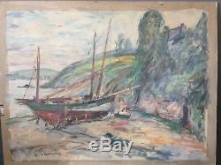 Tableau Ancien École française Peinture décoration marine normandie circa 1930