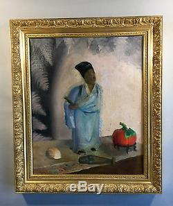 Tableau Ancien Encadré / Peinture Su Toile Representant Un Chinois 56cm X 48 CM